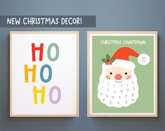 Set of 2 Christmas Prints, Countdown christmas print,Christmas Printable Wall Art, KIDS Merry Christmas Print, Christmas Wall Art, Santa art