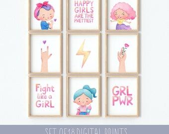 Set of 18 Girls room decor, STRONG GIRLS Printable, Empowering Prints, Printable Art for Girls, Girls Bedroom Wall Art, Empowering Wall Art,