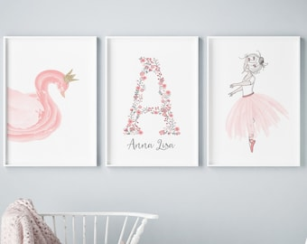 Blush Pink//Grey Personalised Name Print Wall Art Nursery Room Decor Picture Gift