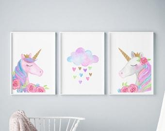 0d1cbf1c745bb Unicorn wall art   Etsy