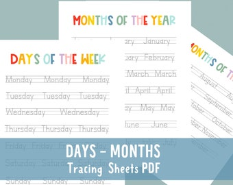 Days of the Week Tracing Sheets, months Tracing Worksheets , Printable Tracing Worksheets, PDF worksheets, homeschool printable, teachers