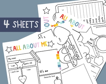 ALL ABOUT ME sheets for kids, printable activity, Writing prompt for kids, Educational children page,Printable sheet for Back to school,jpg
