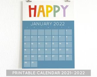 Printable Calendars, Printable Kids Calendars, 2021 -2022 Calendar, rainbow Calendars, Homeschool Calendars,school calendar, wall calendar