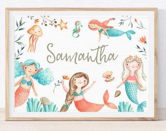 graphic relating to Printable Mermaid Pictures called Mermaid printable Etsy