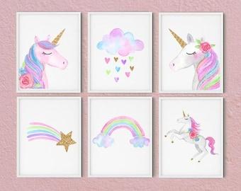 Set Of 6 Unicorn Wall Art Set, Printable Unicorn Art, Girls Room Decor,  Unicorn Gold Glitter, Unicorn Prints, Pink Blush,cloud Rainbow,gold
