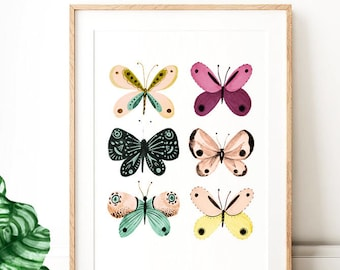 Butterfly Art Prints Girls Wall Dining Room Living Decor Kitchen Pastel