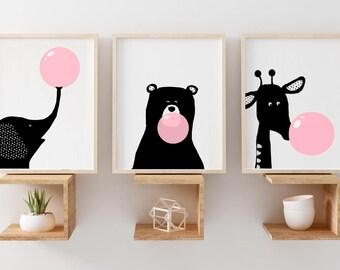 Sale Scandinavian Art Sweet Bunny Nursery Decor Wall Art Etsy