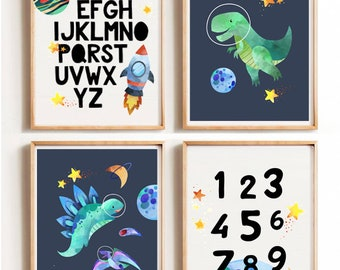 Marvelous Dinosaur Space Print, Spaceship Art,Nursery Wall Art, Nursery Wall Decor,  DINOSAUR Nursery, Modern Nursery, Kids Room Art, Kids Room Artwork