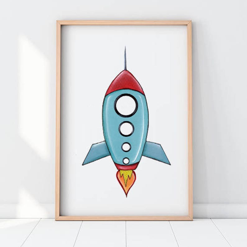 image relating to Rocket Printable called Rocket nursery, Spaceship nursery print, Spaceship printable, Rocket printable, Rocket nursery decor, present for children, presents for boys, blue