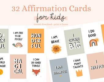 32 affirmation cards, positive cards, daily cards, affirmation cards for kids, learning cards,Positive Thought, affirmation for Kids,Quotes