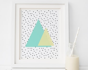 SALE Mint Print, Mint Poster, Mint Wall Art, triangle Print, Geometric Print, Chevron Poster, Mint and yellow Print, Downloadable Print, MT