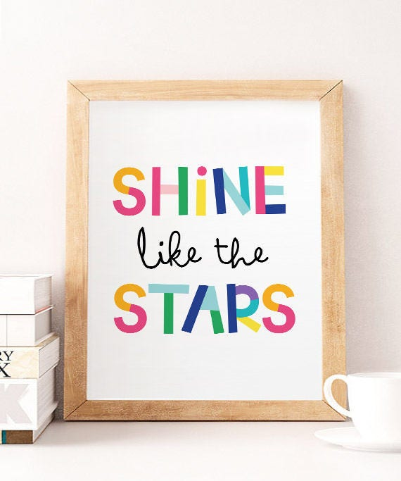 Shine Like A Star Printable Wall Art Quote For Nursery Girl Etsy