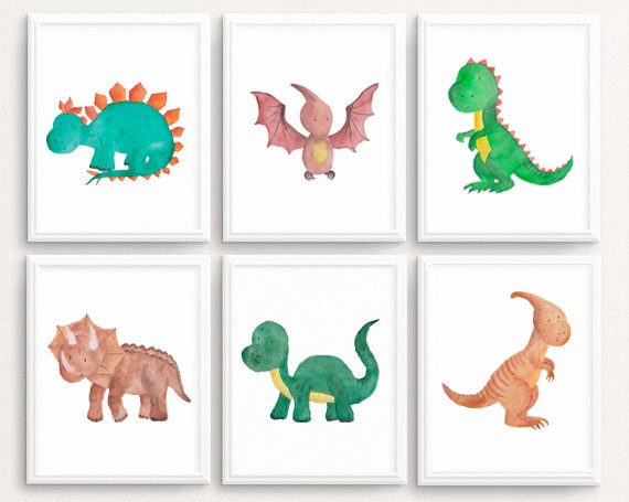 image relating to Printable Dinosaur identify Dinosaur wall artwork, Fixed OF 6, Dinosaur Print Dinosaur printable Dinosaur Prints Watercolor Dinosaur decor Child Boy Nursery A4 11X14 Down load
