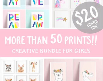 Super creative bundle- 50 prints - pinterest wall gallery - girls Printable - girls Wall Art Prints, Digital nursery Print, girl Nursery art