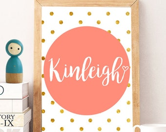 Custom Name gold, Custom Name Print, DIGITAL Nursery Art, Custom Printable poster, Personalized Print, Instant download, Gold print, name