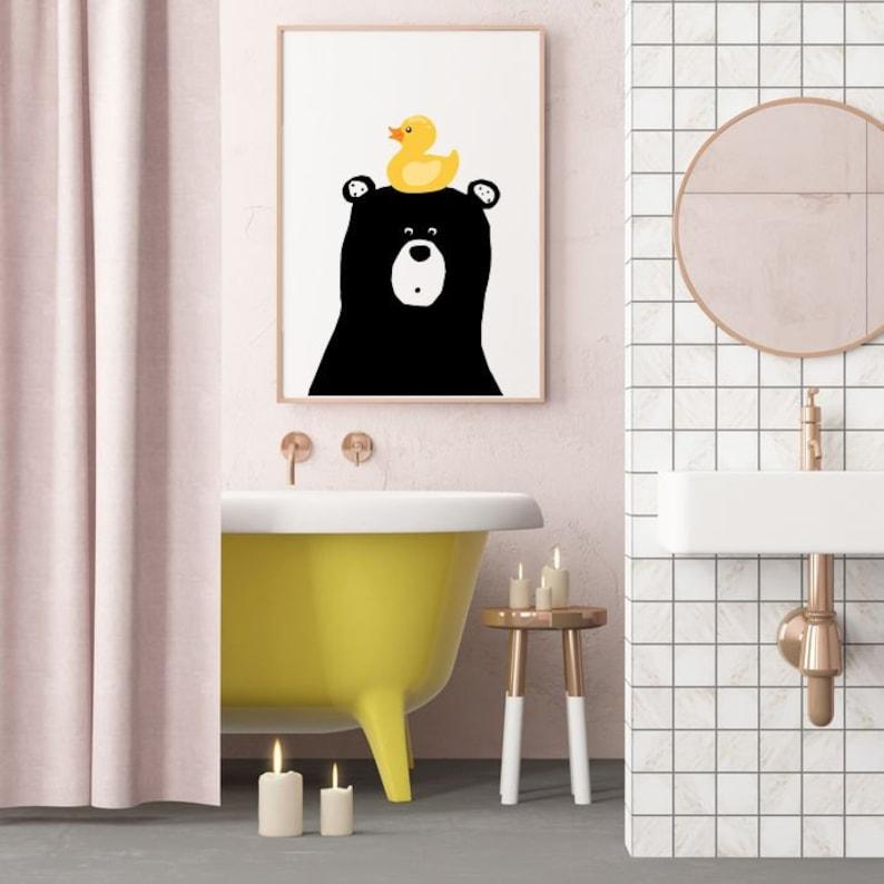 Bathroom Wall Art Bear With Ducky Bathroom Printables Etsy
