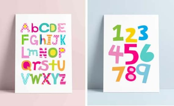 Educational posters SET OF 2 Alphabet Print Numbers Art | Etsy