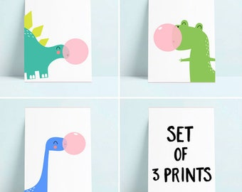 Set Of 3 Children Prints, Dinosaur Gum Nursery Prints, T Rex, Paintings,
