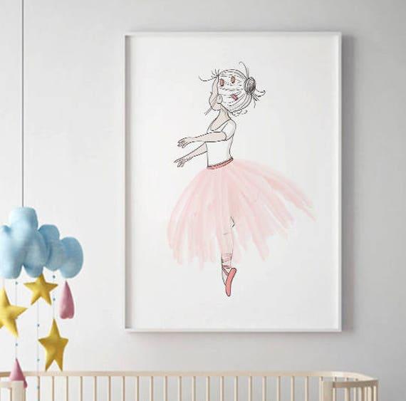 Ballerina wall art SALE PRINT Girls Room Decor Pink tutu | Etsy