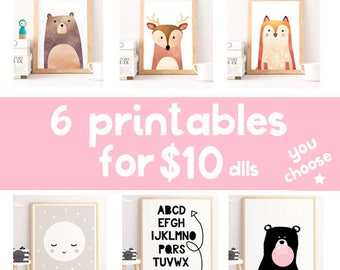 Set of prints, set of 6 prints for 10 dlls, you choose designs, wall prints, nursery prints, kids wall art, children decor, home gallery, AP