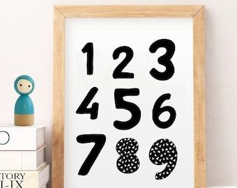 Nursery numbers, Nursery numbers art,  black white numbers, Numbers print, Nursery art, Childrens art, Kids printable , Kids numbers print