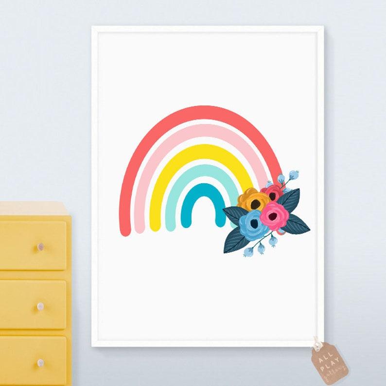 5da65050c2115 Toddler girl wall art, Girl nursery decor girl, rainbow nursery wall art,  floral nursery, trendy wall art, toddler room decor,wall art print