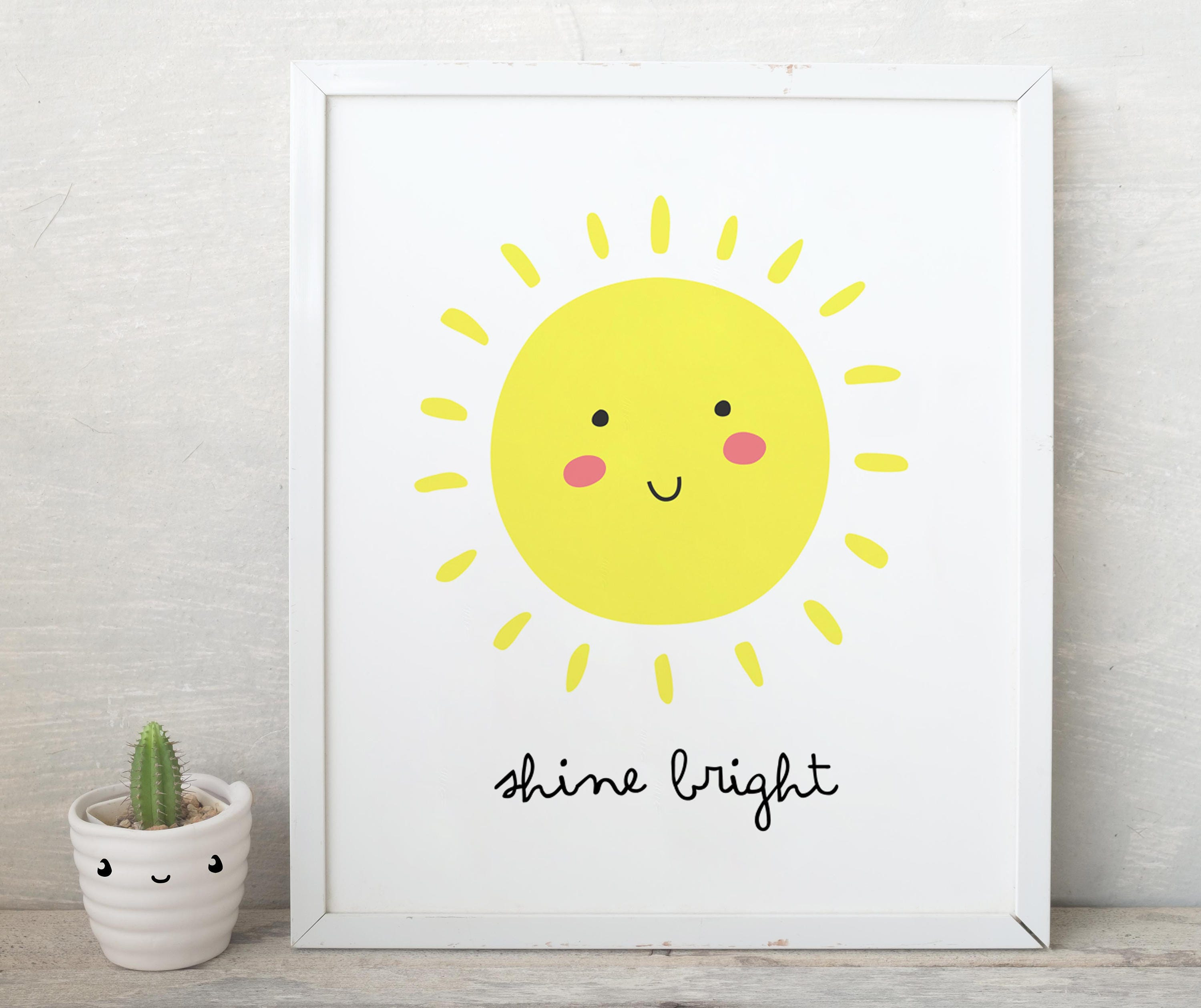 Shine Bright Smile Sun Printnursery Sunshine Print You Are Etsy
