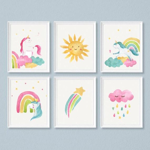 Children nursey bedroom always be yourself unicorn watercolour art print