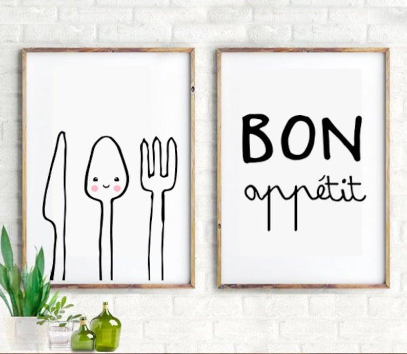 Etonnant Set Of 2 Kitchen Prints, Kitchen Wall Art, Kitchen Decor, Kitchen  Inspiration, Kitchen Quotes, Modern Kitchen Art Print, Bon Appetit, Kids