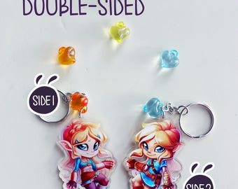Zelda BoTW - Link & Zelda Clear Double-Sided ~2.5x2.5 Charm