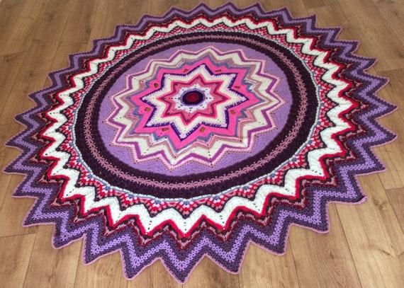 Mandala Decke Häkeln In Lila Rosa Und Creme Farben Galaxy Of Etsy