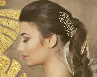 Pearl bridal hair accessory, Fresh water pearl bridal headpiece, pearl bridal hair vine, wedding pearl hair piece, pearl hair accessories