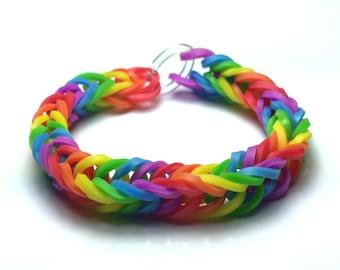 Rainbow Colored Rainbow Loom Rubber Band Bracelet - Fishtail Design