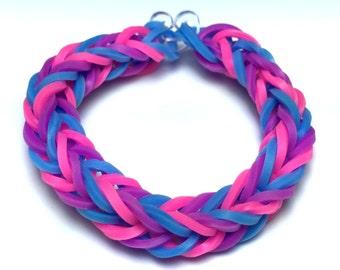 Purple, Blue, Pink Rainbow Loom Rubber Band Bracelet - Fishtail Design