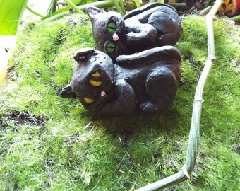 Handmade Polymer Clay Black Kitty Cat Green or Yellow Eyes