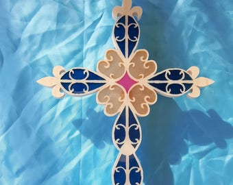 Wood and Resin Cross (Iridescent Orchid,Gold Flake, and Blue)