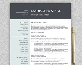 One page resume template | Etsy