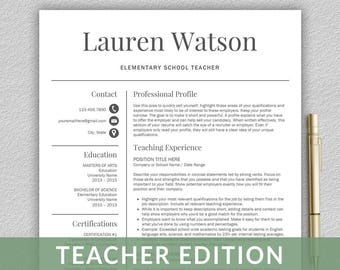 Teacher Resume Template For Word CV
