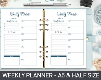 A5 Weekly Planner Printable, Weekly Planner Inserts, Weekly Organizer, Half Size Weekly Planner, Week Planner Page, Weekly To Do List