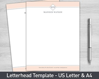Letterhead template for word diy custom letterhead etsy letterhead template for word personalized letterhead business letterhead custom letterhead diy stationary custom stationary altavistaventures Gallery