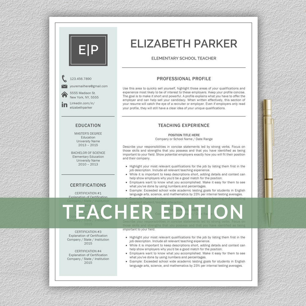 teacher resume template for word    resume teacher cv teacher