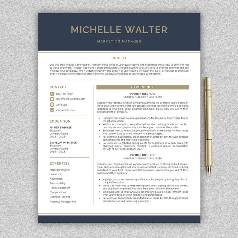 Modern Resume Template Professional Word