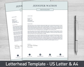 Letterhead Template for Word, Business Letterhead, Personalized Letterhead, Cover Letter, DIY Stationary, Custom Stationary
