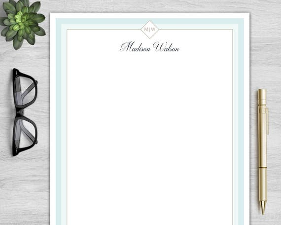 Letterhead Template For Word Personalized Letterhead Etsy