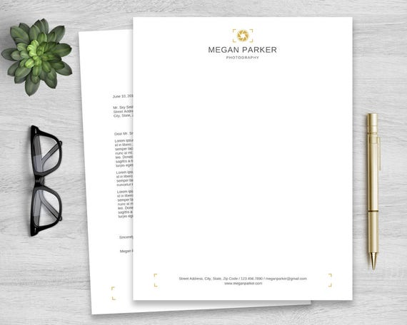 letterhead template for word personalized notepad business etsy