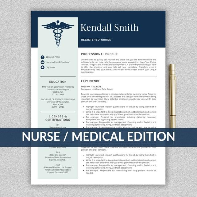 Krankenschwester-Lebenslauf-Vorlage für Word / medizinische | Etsy