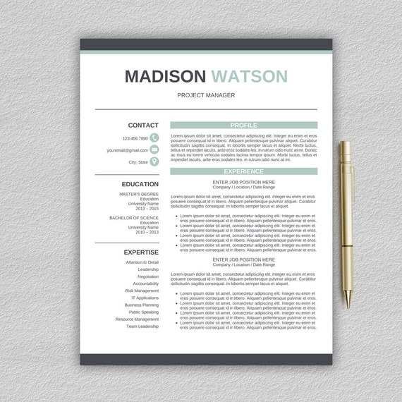 creative resume template for word 1 and 2 page resume