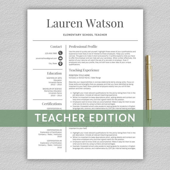 Teacher Resume Template For Word Teacher Cv Template Etsy