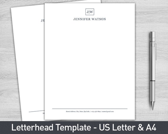 Letterhead Template For Word Etsy