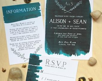 Modern watercolor wedding invitation set